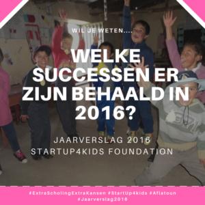 Jaarverslag 2016 StartUp4kids Aflatoun onderwijs